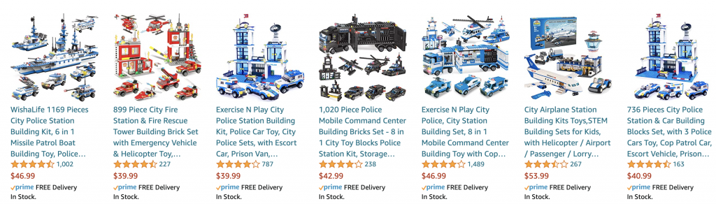 Contains images of Fake Lego Sets Being Sold on Amazon